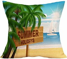 Kissenhülle Kissenbezug Jamicy® Sommer Strand Sofabett Ausgangsdekoration für Dekokissen Sofakissen Cocktailkissen Kopfkissen 43cm*43cm (F)