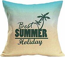 Kissenhülle Kissenbezug Jamicy® Sommer Strand Sofabett Ausgangsdekoration für Dekokissen Sofakissen Cocktailkissen Kopfkissen 43cm*43cm (X)