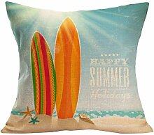Kissenhülle Kissenbezug Jamicy® Sommer Strand Sofabett Ausgangsdekoration für Dekokissen Sofakissen Cocktailkissen Kopfkissen 43cm*43cm (W)