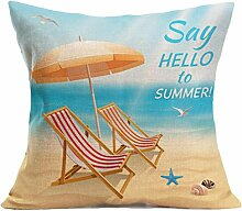 Kissenhülle Kissenbezug Jamicy® Sommer Strand Sofabett Ausgangsdekoration für Dekokissen Sofakissen Cocktailkissen Kopfkissen 43cm*43cm (R)