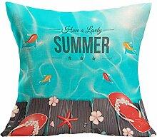 Kissenhülle Kissenbezug Jamicy® Sommer Strand Sofabett Ausgangsdekoration für Dekokissen Sofakissen Cocktailkissen Kopfkissen 43cm*43cm (N)
