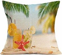 Kissenhülle Kissenbezug Jamicy® Sommer Strand Sofabett Ausgangsdekoration für Dekokissen Sofakissen Cocktailkissen Kopfkissen 43cm*43cm (E)