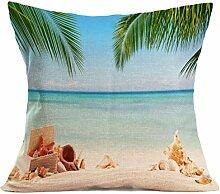 Kissenhülle Kissenbezug Jamicy® Sommer Strand Sofabett Ausgangsdekoration für Dekokissen Sofakissen Cocktailkissen Kopfkissen 43cm*43cm (C)