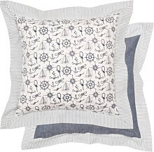 Kissenhülle, Kissenbezug MARITIM blau weiß 40x40cm Baumwolle Clayre & Eef (13,95 EUR / Stück)