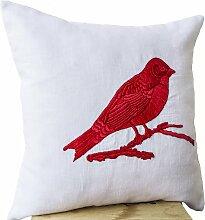 Kissenhülle mit bunten Vogel bestickt auf weiß–HANDARBEIT Leinen Sofa Kissenbezug–Vogel Design Couch Kissenbezug 40x 40, rot, 40x40 cm