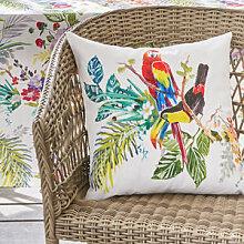 Kissenhülle mit exotisch buntem Papageienmotiv