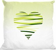 Kissenhülle Wave hearts green - tolles Motivkissen - gardinen-for-life Collection (40 x 40 cm) Kissenbezug, Sofakissen