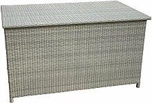 Kissentruhe weiß mit Auflage, ca. 134x79x75 cm, Korbstuhl, Hocker, Sitzkissen, Aluminium und Polyrattan - Kölle