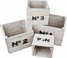 Kisten 4er Set 1-4 holz 24-26-33-40weiss
