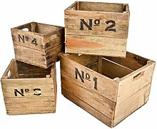 Kisten 4er Set 1-4 Holz 24-26-33cm Braun