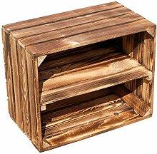 Kistenkolli Altes Land flambierte/geflammte massive Obstkisten als Regal oder als klassische Kiste ca 49 x 42 x 31 cm/Apfelkisten Weinkisten aus dem Alten Land (2 Stück geflammte mit Einlage)