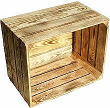 Kistenkolli Altes Land flambierte/geflammte massive Obstkisten als Regal oder als klassische Kiste ca 49 x 42 x 31 cm/Apfelkisten Weinkisten aus dem Alten Land (2 Stück geflammt)