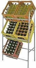 Kistenregal Silber Getränkekistenregal Kastenregal Flaschenkastenregal Getränkekistenständer Kastenständer für 6 Kästen inkl. Wandbefestigung