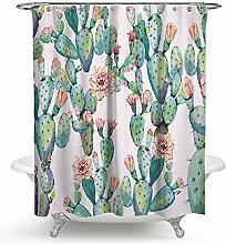 kisy Tropical Grün Pflanzen Kaktus Wasserdicht Bad Duschvorhang Pink Kaktus Blütenblatt Blume Badezimmer Dusche Vorhang Standard Größe 177,8x 177,8cm Pink Grün