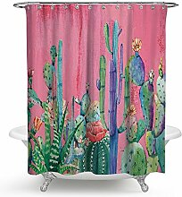 kisy tropischen Pflanzen Kaktus Wasserdicht Bad Duschvorhang Kaktus Blütenblatt Blume Vintage Badezimmer Dusche Vorhang Standard Größe 177,8x 177,8cm Pink Grün