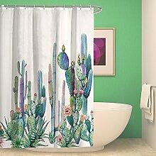 kisy tropischen Pflanzen Kaktus Wasserdicht Bad Duschvorhang Kaktus Blütenblatt Blume Badezimmer Dusche Vorhang Standard Größe 177,8x 177,8cm Pink Grün