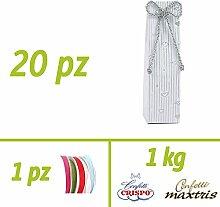 Kit Geschenke Basteln | Silberhochzeit | 20Stück Schachtel Hohe Anniversary Silver + 1kg von Confetti wählbar | 50mt-Klebeband gratis