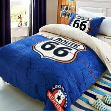Kit Heimtextilien Bettwaren Kit ist tagesdecken Baumwolltwill einzelne Student Kits 1,2 m Bett 160*210 cm, 66 Autobahn