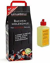 Kit Holzkohle Buche Lotus Grill 2,5kg + 1Packung Gel für Zündung Original Lotus Grill