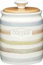 KitchenCraft Classic Collection gestreift Keramik Kaffee Vorratsdose, 800ml (28FL OZ)–Creme