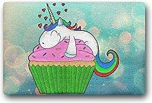 kitchor Personalisierte Cupcake Einhorn Fußmatte