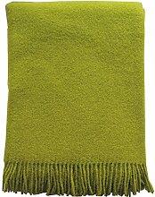 Kiwigrüne Wolldecke aus 100% neuseeländischer Schurwolle, ca 200x130cm mit Fransen, 850g