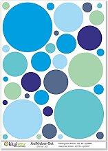 Kiwistar blaue und grüne Kreise, 33 Kreise, Wandsticker Set Bogen Aufkleber farbig DIN A1Gesamtfläche: ca. 80x60cm