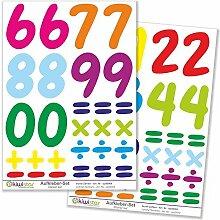 Kiwistar bunte Zahlen, 3 Bögen, Wandsticker Set