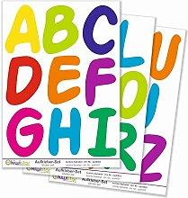 Kiwistar buntes Alphabet, 26 Buchstaben, Gesamtfläche 30 x 20 cm / 3 Bögen, Wandsticker Set Bogen Aufkleber farbig DIN A4