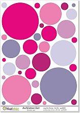 Kiwistar rosa und lila Kreise, 33 Kreise, Wandsticker Set Bogen Aufkleber farbig DIN A4Gesamtfläche: ca. 30x20cm