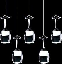 KJLARS Moderne Hängelampe Glaslampe mit 5 Weinglas Pendelleuchte Acyle Glasschirm Pendellampe Hängeleuchte für esstisch, Wohnzimmer, Restaurant, cafe (Kaltweiß)