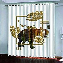 KJQTEN Gardinen Blickdichte Goldener Blumenelefant