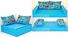 KK B11 blau-Autos Kindersofa Kindermatratze Sitzkissen Spielsofa Minicouch Set + 2 Kissen (KK B11 (blau-Autos))