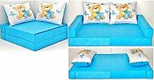 KK B3 blau-Teddy Kindersofa Kindermatratze Sitzkissen Spielsofa Minicouch Set + 2 Kissen (KK B3 (blau-Teddy))