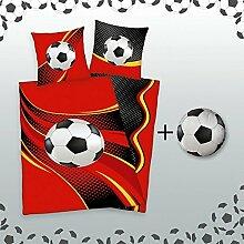 KK Bettwäsche Fußball 135x200 cm mit Rundkissen
