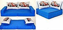 KK C2 blau-Formel1 Kindersofa Kindermatratze Sitzkissen Spielsofa Minicouch Set + 2 Kissen (KK C2 (blau-Formel1))