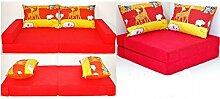 KK D2 rot-Zoo Kindersofa Kindermatratze Sitzkissen Spielsofa Minicouch Set + 2 Kissen (KK D2 (rot-Zoo))