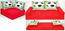KK D3 rot-Fußball Kindersofa Kindermatratze Sitzkissen Spielsofa Minicouch Set + 2 Kissen (KK D3 (rot-Fußball))