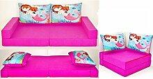 KK H4 rosa-Nixe Kindersofa Kindermatratze Sitzkissen Spielsofa Minicouch Set + 2 Kissen (KK H4 (rosa-Nixe))