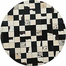KK&MM Runde Teppiche Handgefertigte Leder Nähen Schwarz und Weiß Computer Stuhl Teppich Salon Wohnzimmer Matte Schlafzimmer Kopfteil Tischdecke (Größe: 1,5 Meter), B, 100cm