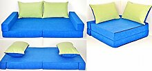 KK N blau-grün Kindersofa Kindermatratze Sitzkissen Spielsofa Minicouch Set + 2 Kissen (KK N (blau-grün))