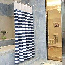 KKCF Blau Weiß Wasserdicht Polyester Stoff Duschvorhang Mehltau Dick Vorhang Vorhang (19 Größen) Badezimmer ( größe : 200*200cm )