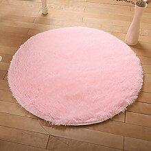 KKCF Europäische Rund Silk Wolldecke-Auflage für Wohnzimmer, Kaffee, Tisch, Teppich, Schlafzimmer, Bettvorleger Pad, Computerstuhl, Yoga-Matte Anti-Rutsch ( farbe : Light Pink , größe : 200cm )