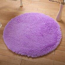KKCF Europäische Rund Silk Wolldecke-Auflage für Wohnzimmer, Kaffee, Tisch, Teppich, Schlafzimmer, Bettvorleger Pad, Computerstuhl, Yoga-Matte Anti-Rutsch ( farbe : Lila , größe : 140cm )