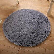 KKCF Europäische Rund Silk Wolldecke-Auflage für Wohnzimmer, Kaffee, Tisch, Teppich, Schlafzimmer, Bettvorleger Pad, Computerstuhl, Yoga-Matte Anti-Rutsch ( farbe : Gray , größe : 200cm )