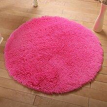 KKCF Europäische Rund Silk Wolldecke-Auflage für Wohnzimmer, Kaffee, Tisch, Teppich, Schlafzimmer, Bettvorleger Pad, Computerstuhl, Yoga-Matte Anti-Rutsch ( farbe : Dark Pink , größe : 200cm )
