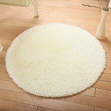 KKCF Europäische Rund Silk Wolldecke-Auflage für Wohnzimmer, Kaffee, Tisch, Teppich, Schlafzimmer, Bettvorleger Pad, Computerstuhl, Yoga-Matte Anti-Rutsch ( farbe : Weiß , größe : 160cm )