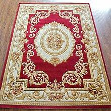 KKCF Europäischer und amerikanischer klassischer handgemachter dreidimensionaler Teppich, Schlafzimmer-Wolldecke-Auflage, rote Matte, 8 Farben-Wahlen Anti-Rutsch ( farbe : H , größe : 1.33*1.9m )
