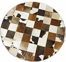 KKCF Klassische Runde braun weiß grau Senior Teppich, Schlafzimmer, Computer-Tisch Teppich Matten, Matten Anti-Rutsch ( größe : 1.2*1.2m )
