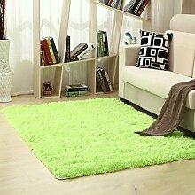 KKCF Moderne im europäischen Stil Home Handwaschbar Rechteckiger Teppich für Wohnzimmer, Kaffee, Tisch, Schlafzimmer, Bett-Wolldecke-Auflage, Kundenbezogenheit, grüne haarige Matten Anti-Rutsch ( größe : 1.4*2.0m )